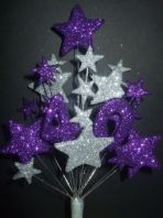 Number age 40th birthday cake topper decoration in purple and silver - free postage